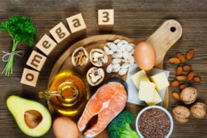 omega 3s Animal and vegetable sources of omega-3 acids as salmon, avocado, linseed, eggs, butter, walnuts, almonds, pumpkin seeds, parsley leaves and rapeseed oil