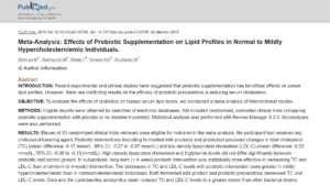 Effects of Probiotic Supplementation on Lipid Profiles in Normal to Mildly Hypercholesterolemic Individuals