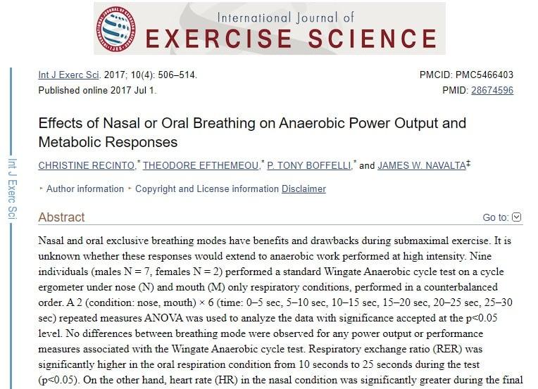 Breathwork: Techniques to Reduce Stress & Improve Cognition - EffectsofNasalorOralBreathingonAnaerobicPowerOutputandMetabolicResponses