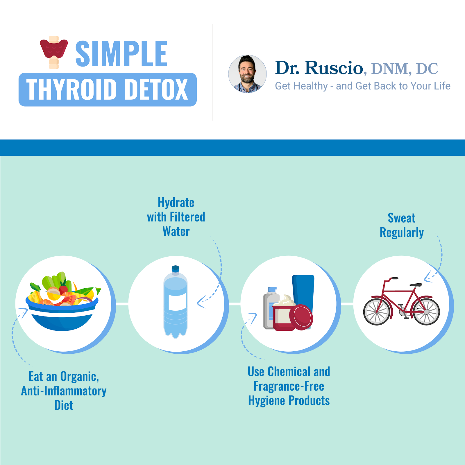 A infographic demonstrating four steps for a thyroid detox