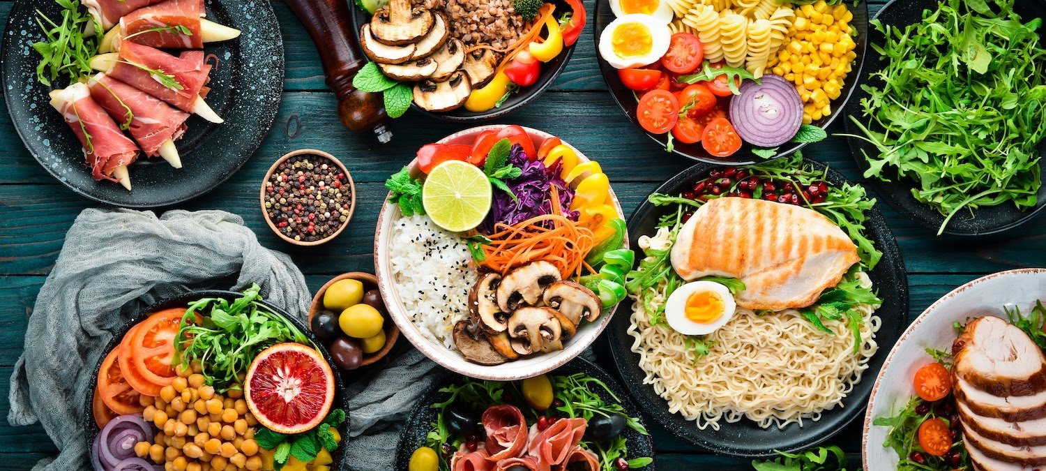 ibs treatment:  assorted healthy food in a table