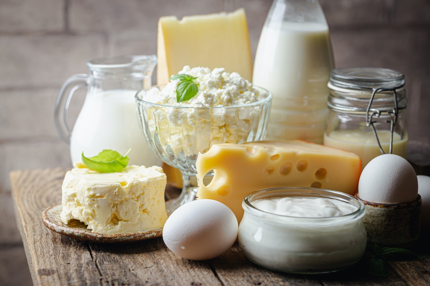 Digestive enzymes for IBS: A variety of dairy products on the table