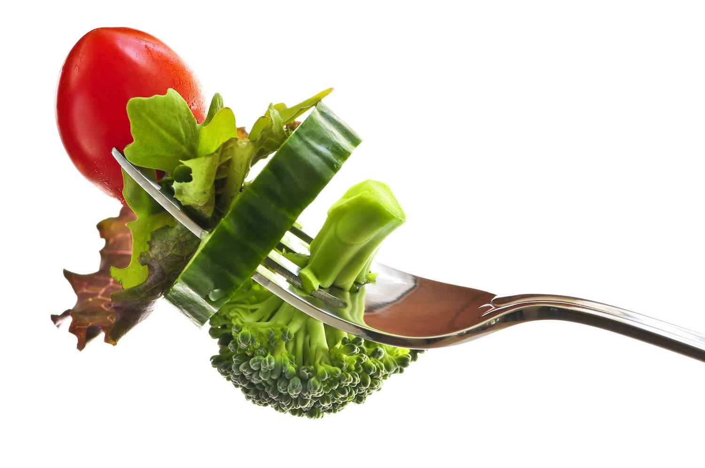 adrenal fatigue test: Fresh vegetables on a fork