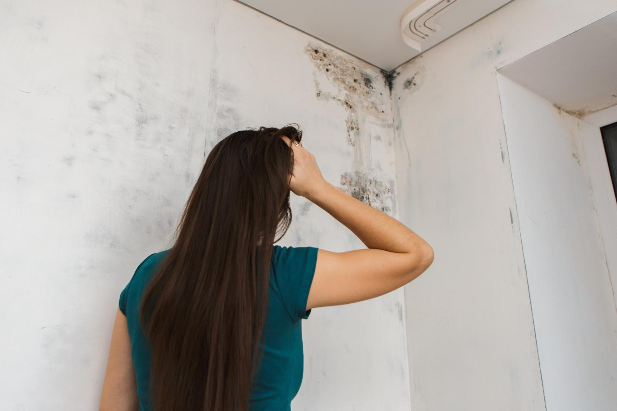 Stressed woman looking at molds in the wall