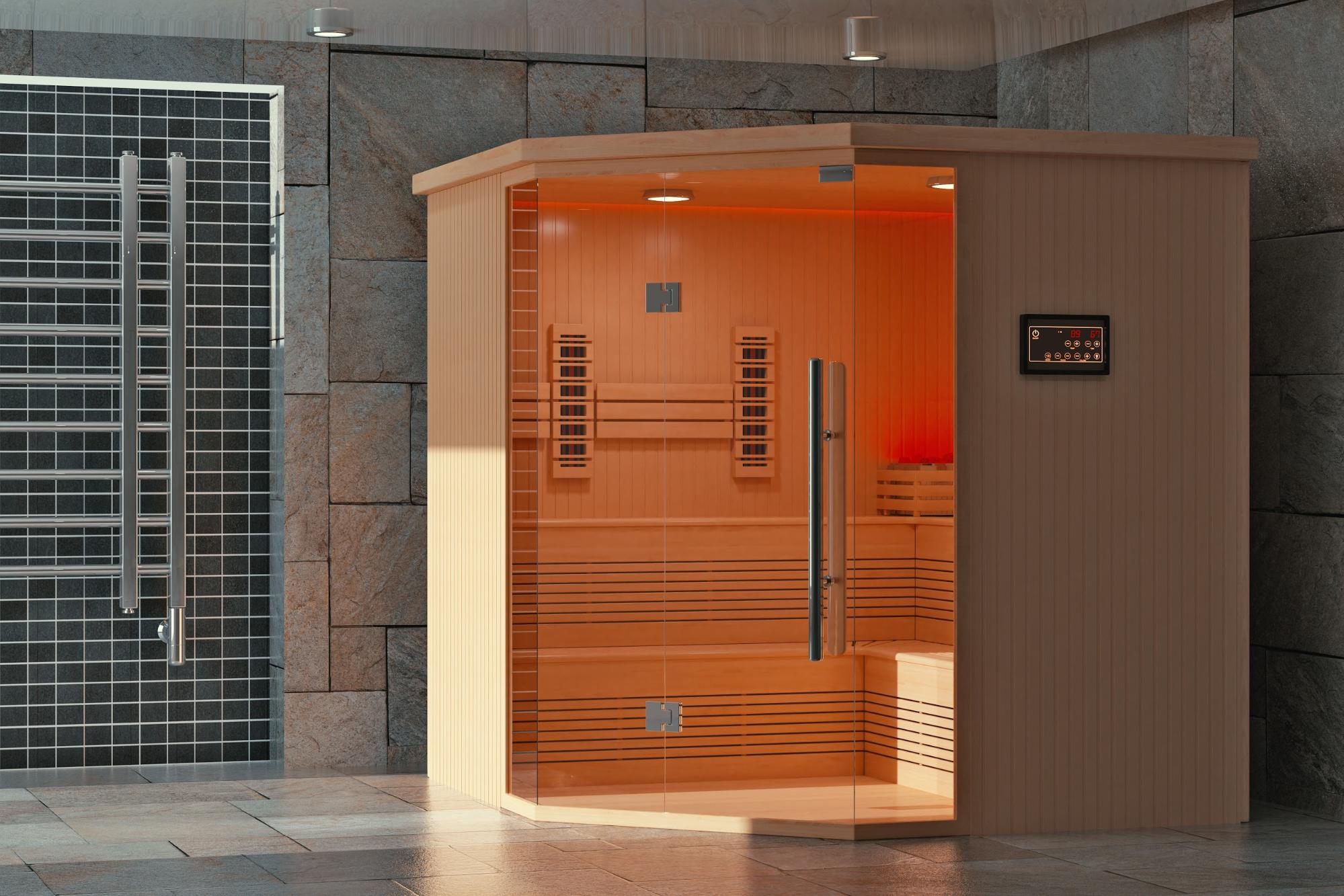 Classic wooden infrared sauna cabin