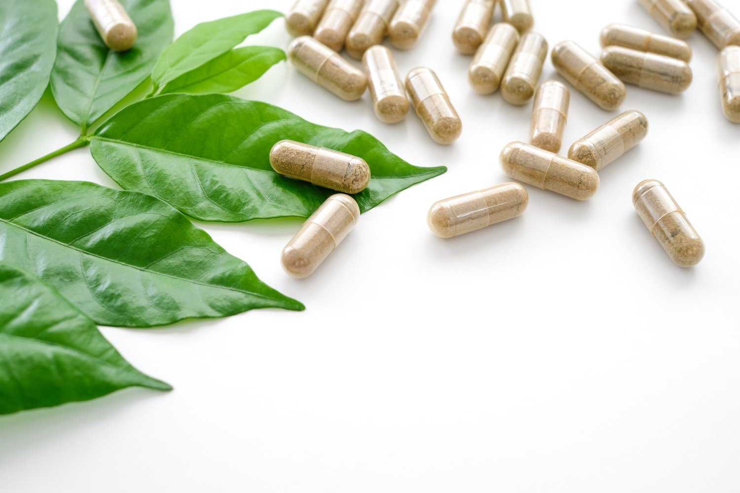 Herbal capsules and leaves on a white surface