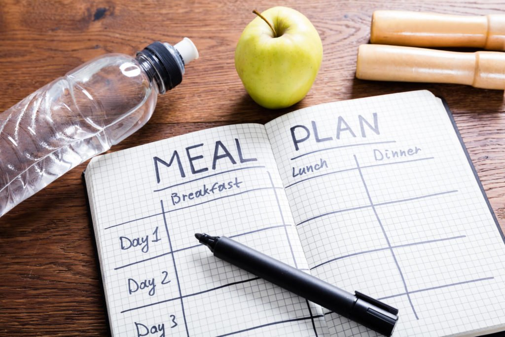 Elimination diet meal plan: blank meal plan and a pen