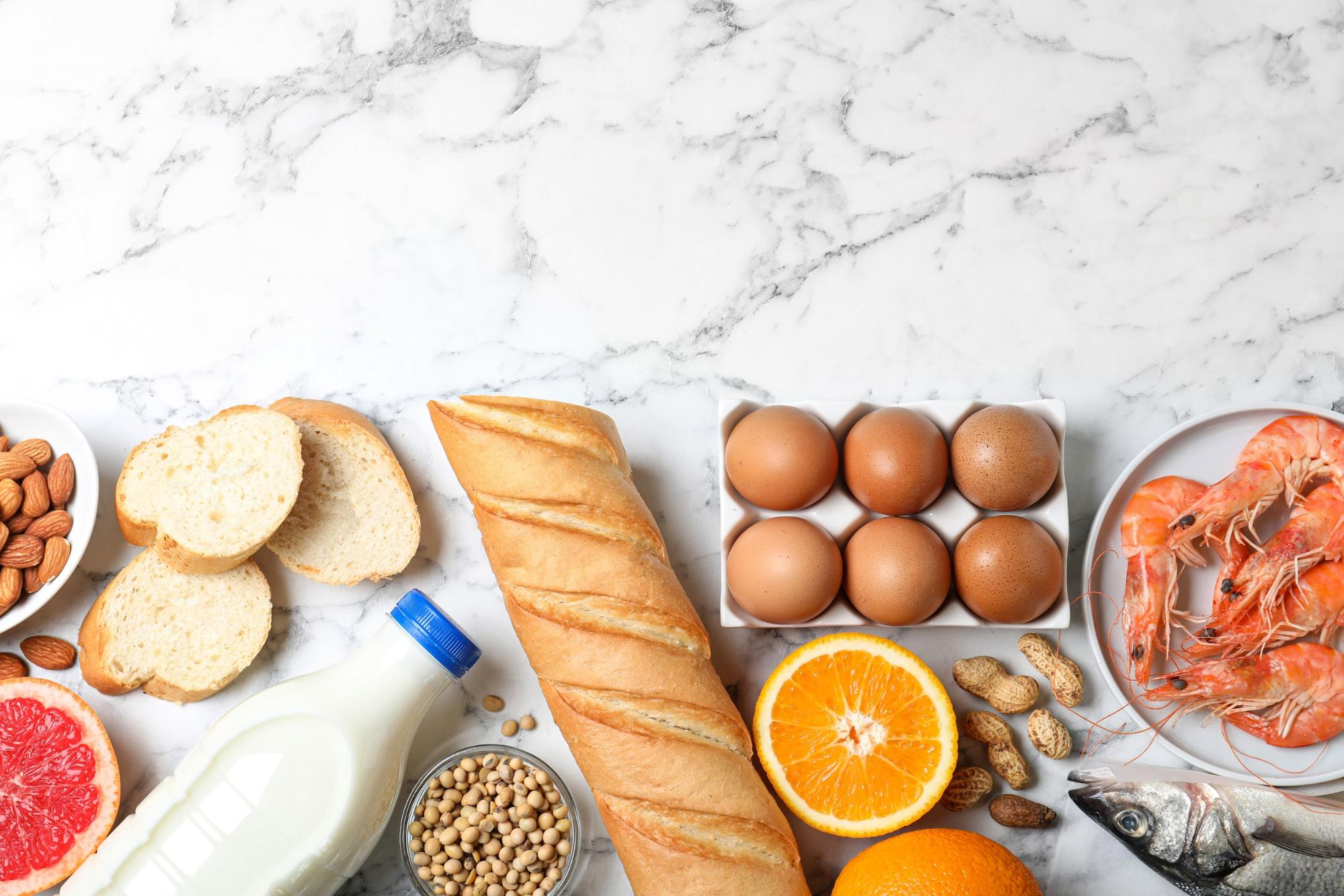 common food intolerances: A variety of food on top of a marble surface