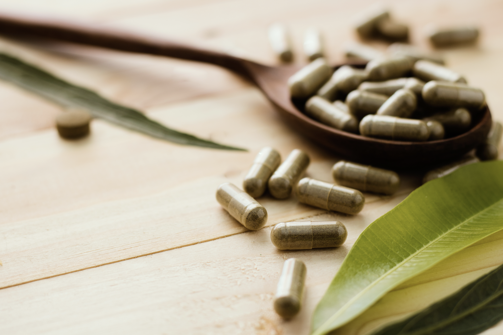 Antimicrobials: Herbal medicine on a wooden surface